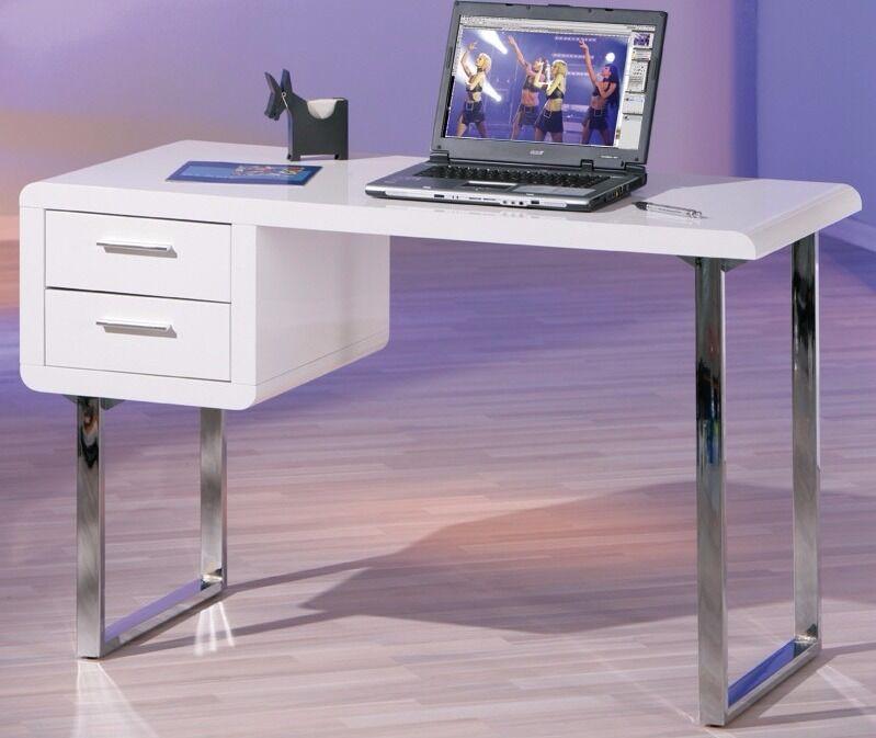 White Gloss Claude Computer/Writing Desk