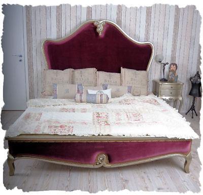 Ehebett Doppelbett Barock Rokoko Samt silber  LOUIS XV Prunkbett gigantisch