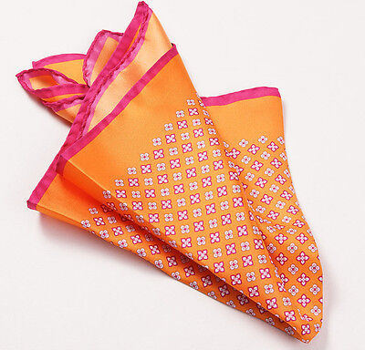 New $215 KITON NAPOLI Orange-Pink Small Floral Medallion Silk Pocket Square