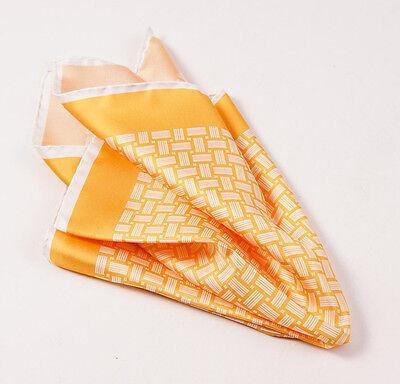 New $215 KITON NAPOLI Golden Yellow-White Basketweave Print Silk Pocket Square