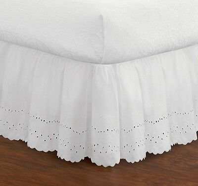 White Bed Skirt Queen Size Eyelet 14 Inch Drop Cotton Poly Blend Dust Ruffle