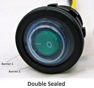 Double Seal Waterproof Green Led Rocker 12v Toggle Switch Spst Boat Round Ip66