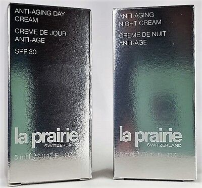La Prairie Anti-Aging DAY & NIGHT CREAM SET 2-5ml Both New in Box Fast Shipping! for sale  Appleton