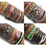 20x Mix lot Genuine Leather Bracelets Men's Wristbands Manmade Wholesale Jewerly