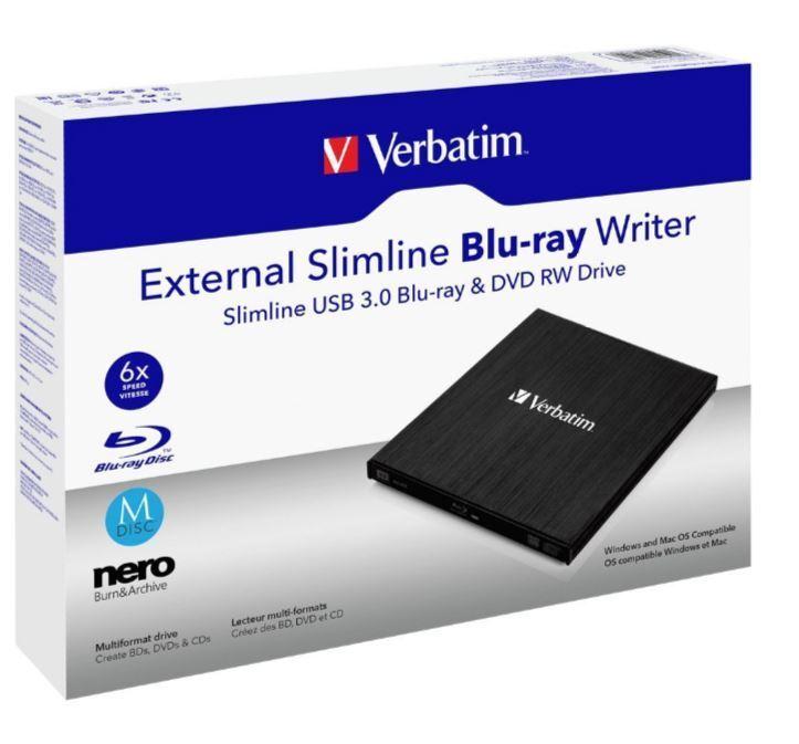 esterno Blu-Ray BDXL REGISTRATORE Verbatim USB 3.0 6x / 8 x/24 x M - DISCO 100GB