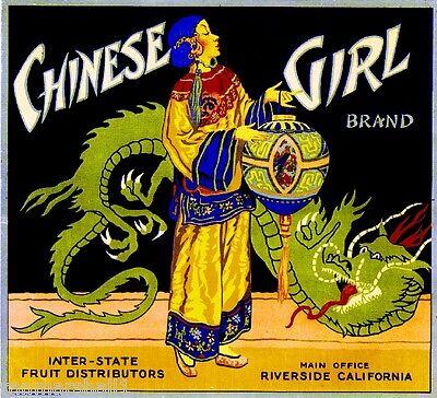 Riverside Chinese Girl New Year Orange Citrus Fruit Crate Label Art Print