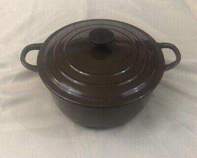 """Vintage LE CREUSET """"D"""" Brown Dutch Oven Pot W/ Lid - Round 3.5 Qt"""