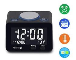 Horologe Usb Alarm Clock Radio With Charging Port LCD Screen Thermometer