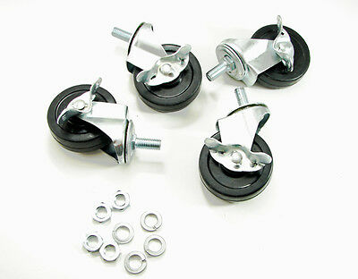 4 Pack 3 Stem Mounted Rubber Wheel Casters With Brake And Hardware 31w-c-br