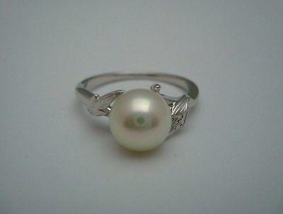"""Authentic   """"MIKIMOTO"""" 14k white gold Akoya Pearl Ring"""