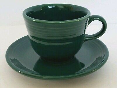 FIESTAWARE EVERGREEN Flat Coffee Cup and Saucer Homer Laughlin Evergreen Cup