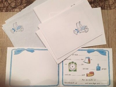 10 Baby/Jungen Geburtsanzeigen , Karten mit Umschlägen / Kuvert NEU