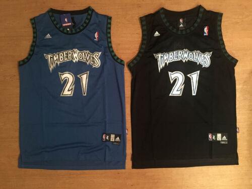 NWT #21 Kevin Garnett Minnesota Timberwolves Mens Throwback Blue / Black Jersey