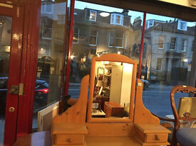 Pine mirror , in very good condition , mirror tilts with 2 small drawers ,