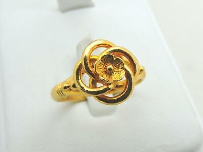 22K Solid Yellow Gold Baht Fancy Flower Ring 6.6 Grams Adjustable Size 10.5 22k Gold Fancy Ring