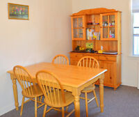 Dining table set with hutch and microwave cart