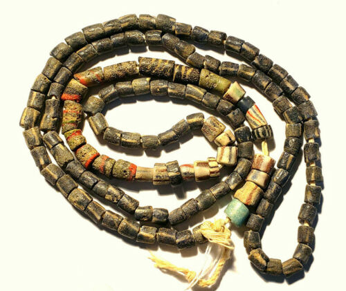 134 Venetian RARE EARLY drawn beads blue stripe, green and red, rare strand