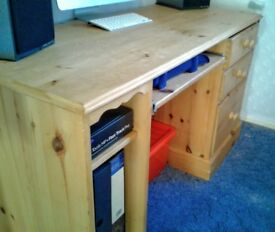 Solid Pine Desk with drawers & keyboard shelf (not IKEA flatpack)