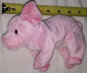 "Plush TY Beanie Baby Pink Pig ""Hamlet"" Toy"