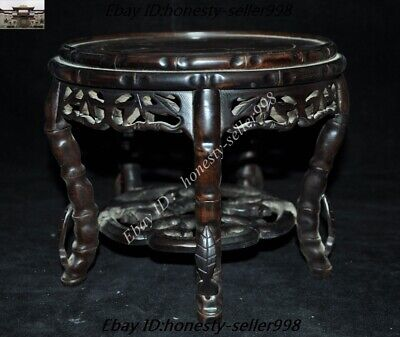 """8/"""" Old chinese palace Rosewood wood Pure Hand-Carved Bonsai Potted Pedestal Base"""