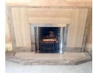 ORIGINAL Art Deco Marble / Travertine Fireplace Fire Surround Hearth