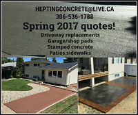 Concrete driveways, garage pads, patios, stamped concrete