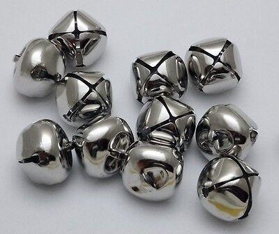 "LOT 1000 PLATINUM SILVER JINGLE BELLS ~ 25mm (~1"") Bulk ~ Metal Craft Holiday"