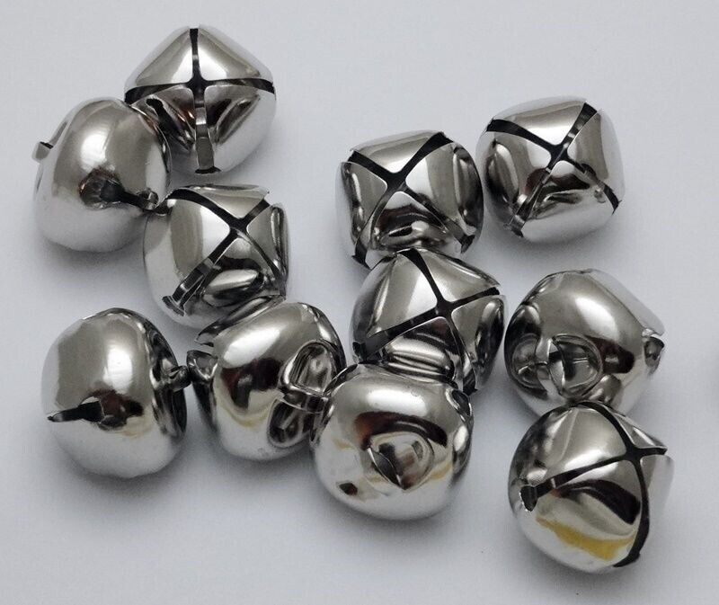 "LOT 250 PLATINUM SILVER JINGLE BELLS ~ 25mm (~1"") Bulk ~ Metal Craft Holiday"