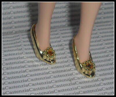 Doll In High Heels (SHOES  BARBIE DOLL SYMPHONY IN CHIFFON METALLIC GOLD JEWEL HIGH HEELS)
