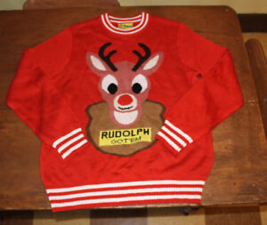 Ugly Xmas sweater rudolph red nosed reindeer Noel XL like new