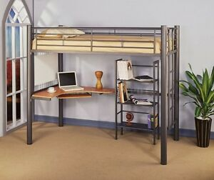 Metal Loft Bed with Desk (Moving)