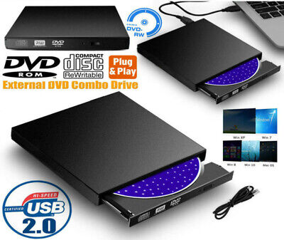 USB 2.0 DVD externo RW Grabador CD Drive Lector Reproductor para Mac Windows