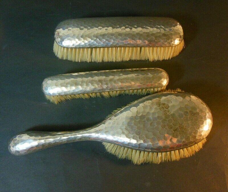 Antique RARE set 3 Brushes DENMARK Hand Hammered SILVER CF Heise A Tvenstrup