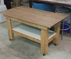 CUSTOM TABLE WITH CASTERS