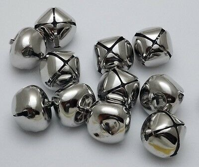 "LOT 100 PLATINUM SILVER JINGLE BELLS ~ 25mm (~1"") Bulk ~ Metal Craft Holiday"