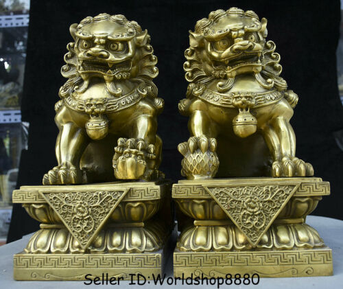 """12"""" Old Chinese Copper Brass Folk Feng Shui Foo Fu Dog Guardion Lion Pair Statue"""