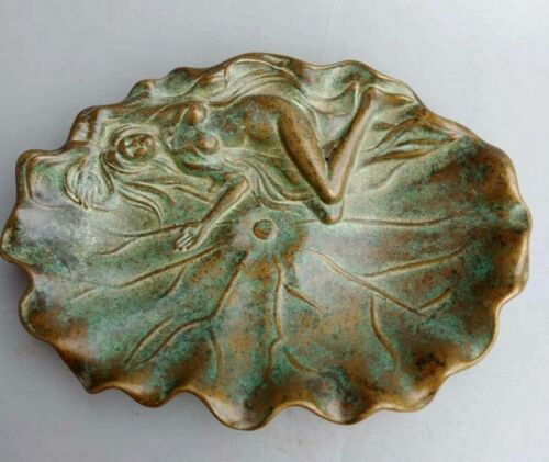Brass Carved Chinese Brush Washing Pot Calligraphy Naked Girl Leaf Tray Decor