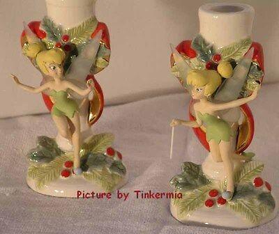DISNEY'S RARE ELEGANT TINKER BELL RETIRED CANDLESTICK HOLDER SET