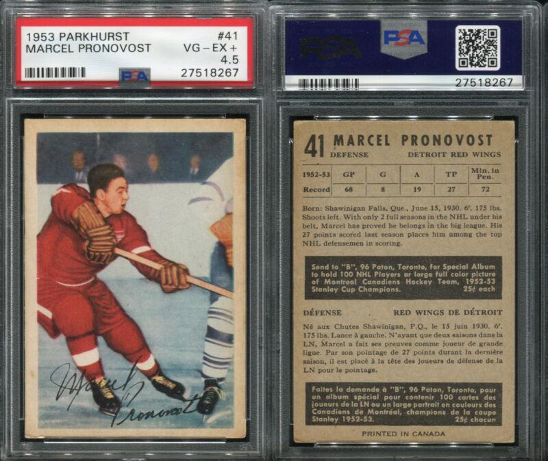 1957 Topps # 43 Marcel Pronovost Detroit Red Wings Hockey Card PSA PSA 6.00 Red Wings