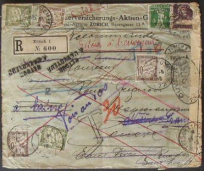 s375) Svizzera - Francia Iscriversi 1916 - Randagi 6 francobollo + Censura