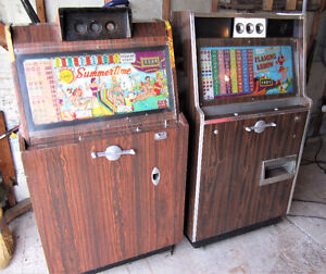 2 ANTIQUE SLOT MACHINES 1950'S OR 60'S ARCADE MAN CAVE