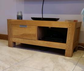 Heavy solid oak TV unit 110 x 45cm