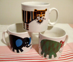 Trio de tasses motif d'animaux de la jungle Royal Alma England