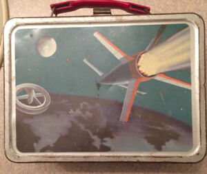 "Vintage 1958 metal lunchbox-""Space Satellite"""