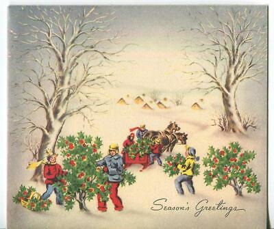 VINTAGE CHRISTMAS HOLLY TREE FARM PICKING RED BERRIES VILLAGE SNOW GREETING CARD ()
