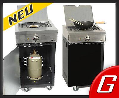 Gaskocher 4 kW + Unterschrank Gas Kocher Wokbrenner Gaswok Hockerkocher Küche