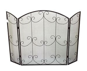 New 3 Panel Fireplace Wood Fire Screen Folding Side Fireplace Ornate Guard