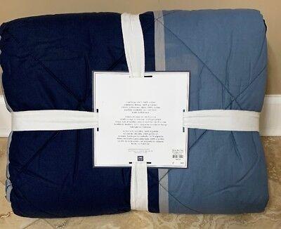 NEW Pottery Barn Teen Aiden Stripe TWIN Bedding Ensemble BLUE Quilt Sheets Sham Blue Striped Bed Ensemble