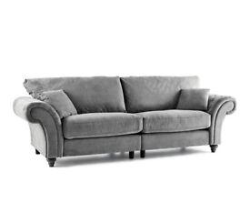 Chesterfield style sofa & footstool- slate grey