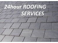 Roofer)24h Roofing Services)Pitched-Flat Roof Repairs-Chimney-Ridge-Tiles-Slates-Gutters-Fascia-Loft